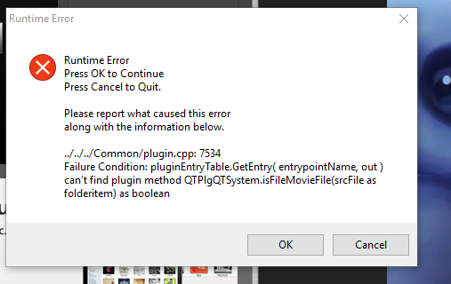 Launch error due to QuickTime not being installed on Windows