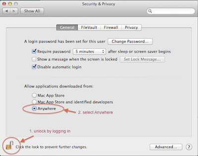 screenshot of security preferences settings