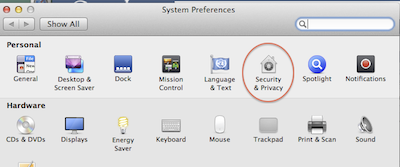 screenshot of security preferences icon